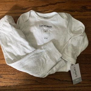 Carters gray white neutral matching set outfit